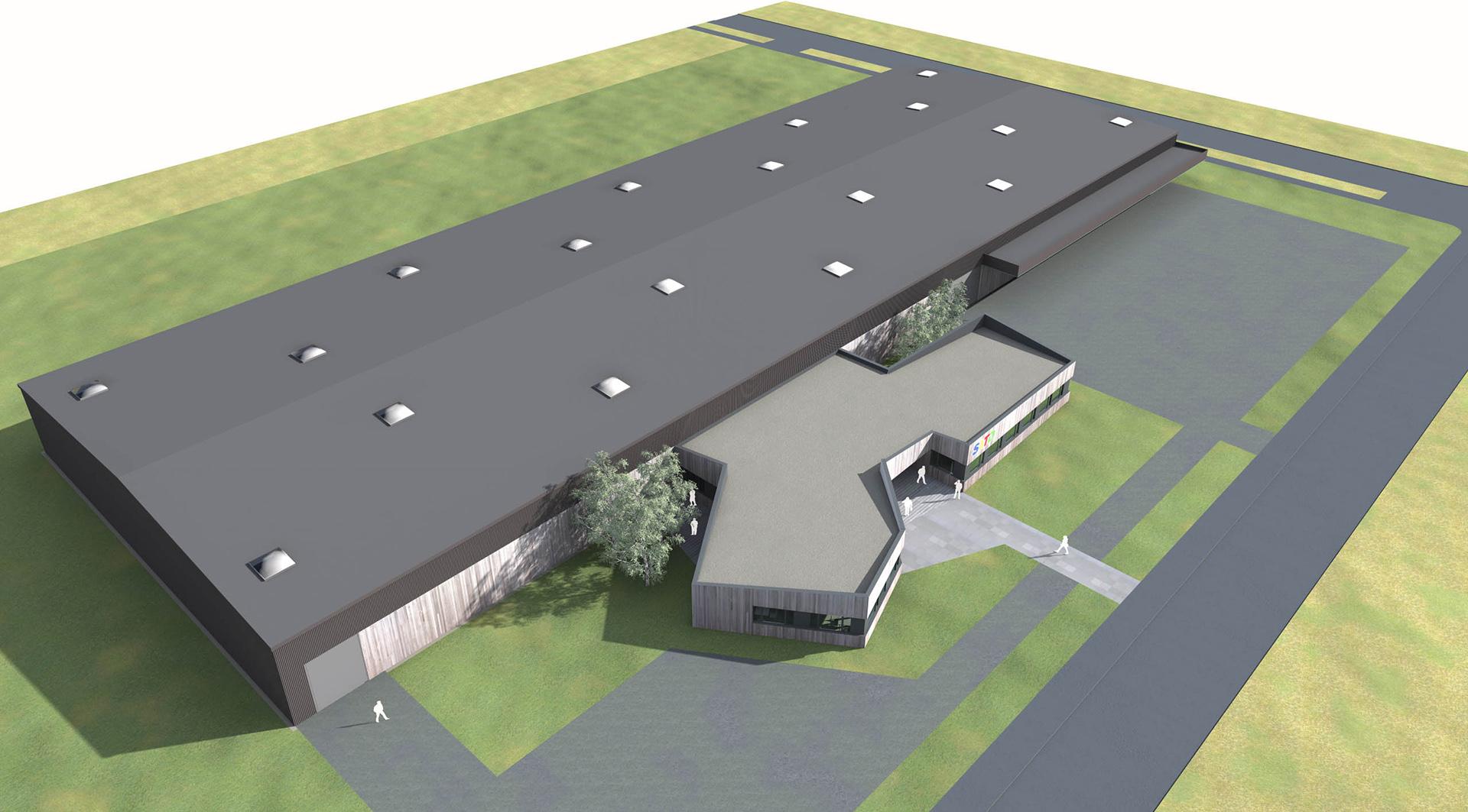 vue aérienne hall industriel satd